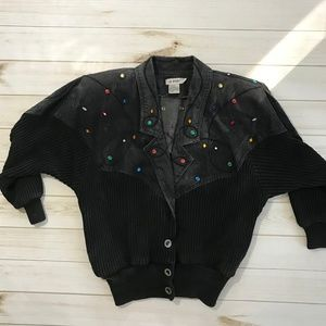 Vintage Black Jean embellish acid bomber jacket m
